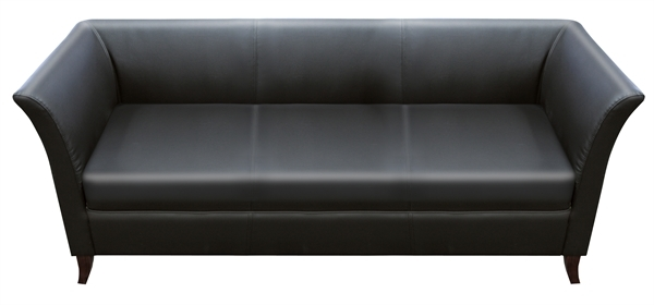LYNDON BLACK Leatherette Three Seat Sofa