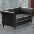 LYNDON BLACK Leatherette Two Seat Sofa