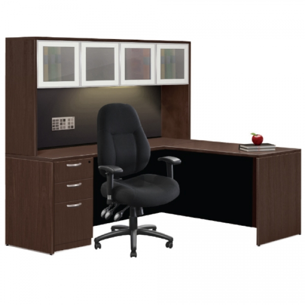 TIMELESS 65 inch Executive Straight Workstation with Return and Hutch