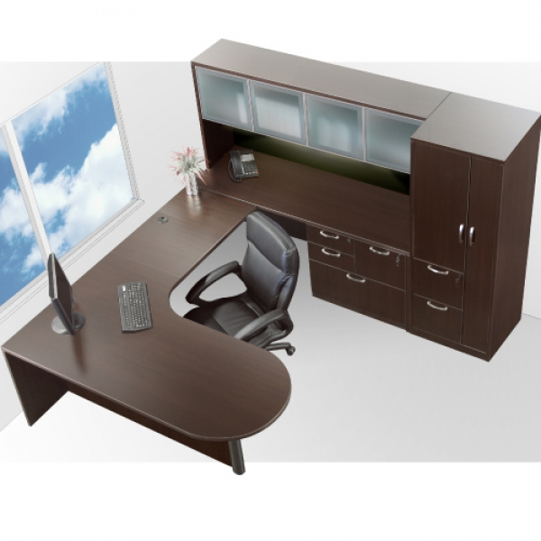 TIMELESS Extended Bullet Desk with Glass Door Hutch, Combination Pedestal and Personal Storage Tower
