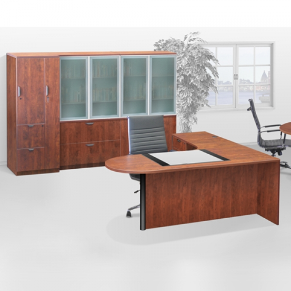 TIMELESS 71 inch Extended L-Shape Workstation with suspended Pedestal