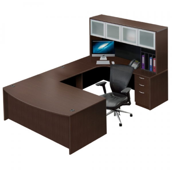 TIMELESS Executive Workstation with Glass Door Hutch and Box/Box/File Pedestal