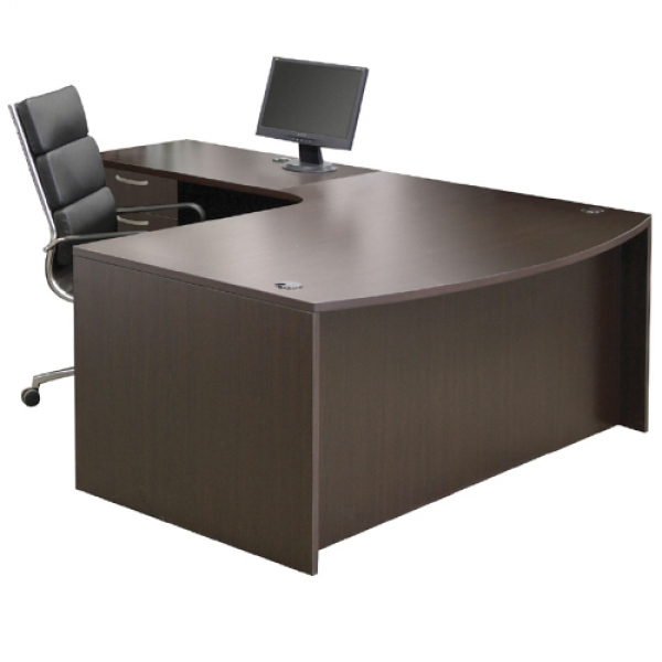 TIMELESS Extended Bow Front Workstation with Box Box File Pedestal