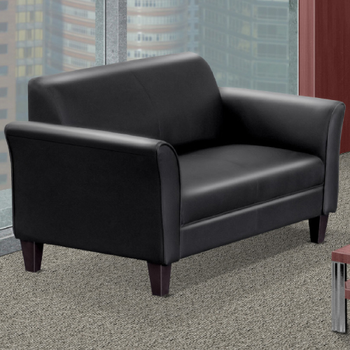 Triggs Black Bonded Leather Two Seat Sofa