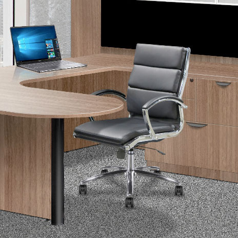 manhattan conference mid back bonded leather office chair